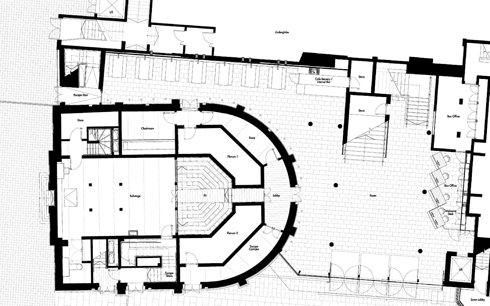 A drawing of a birds eye view of an indoor theatre