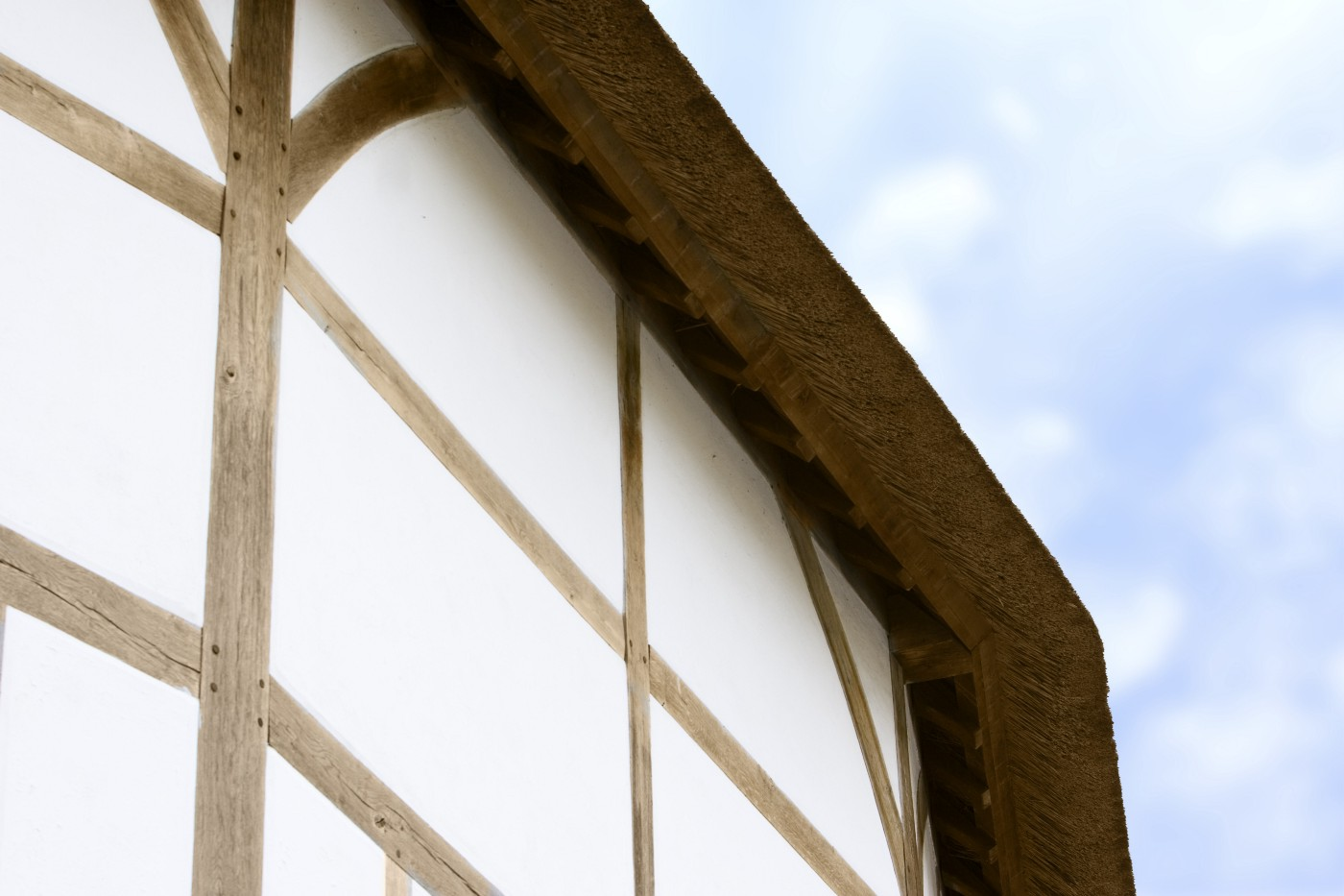 A corner of the Globe Theatre thatch roof