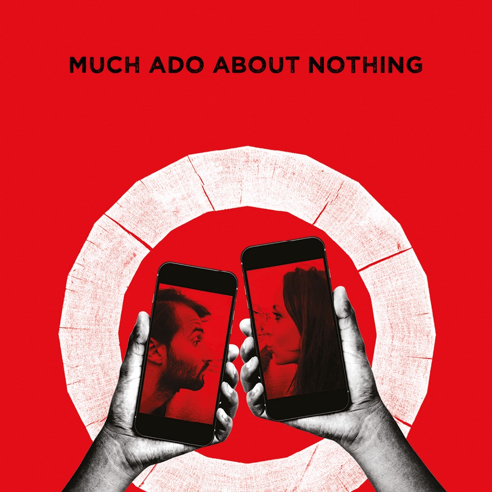 Two hands holding mobile phones featuring the faces of a man and a woman in a white circle