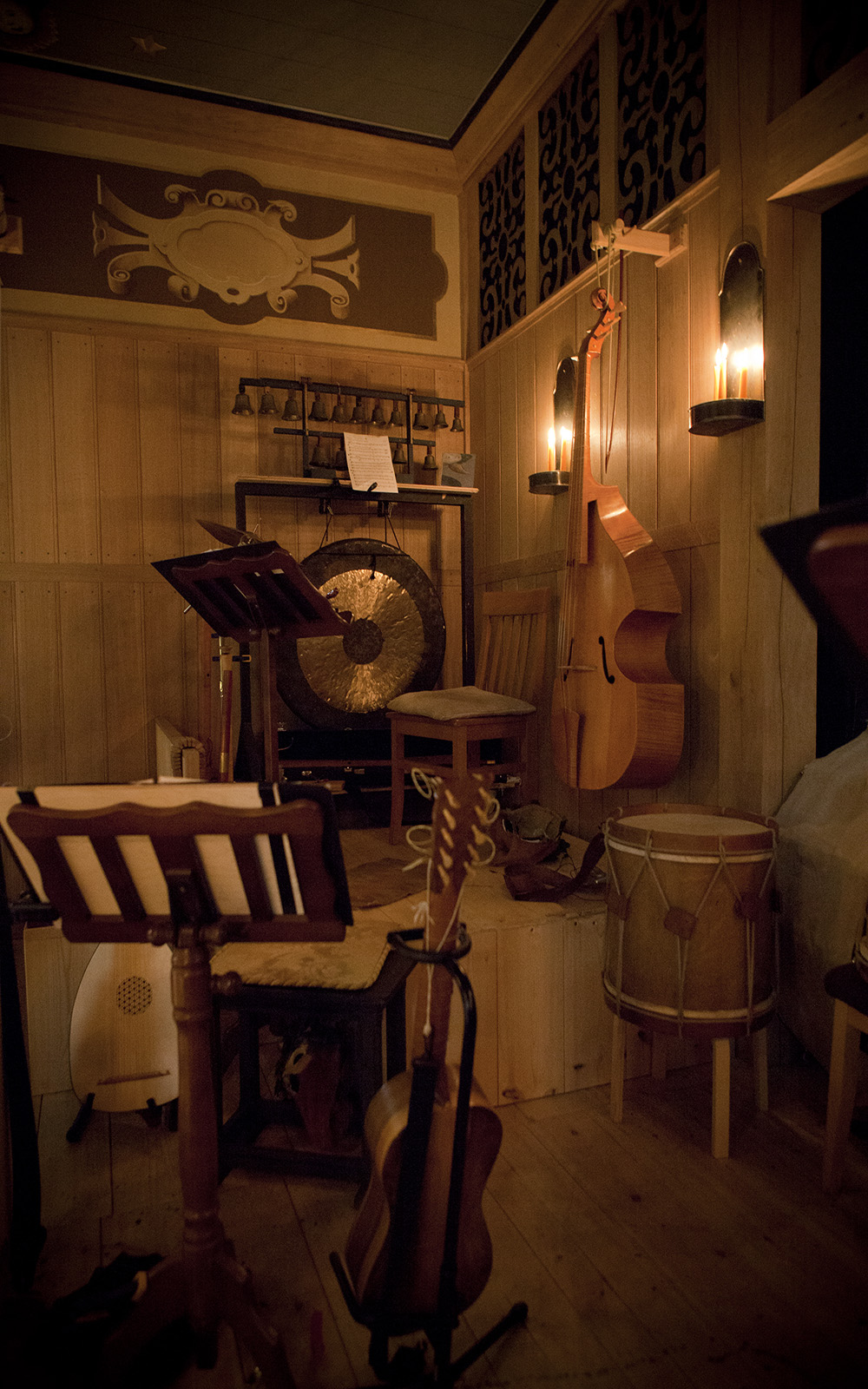 Some instruments sit backstage in a theatre