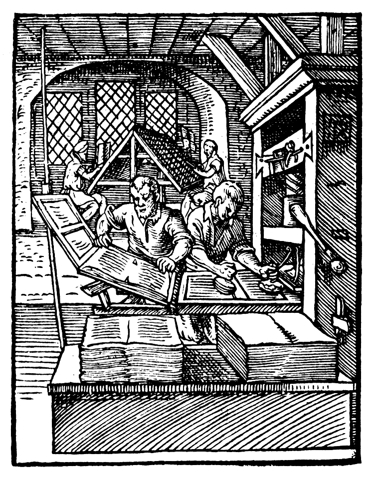 A woodcut showing men working on a printing press