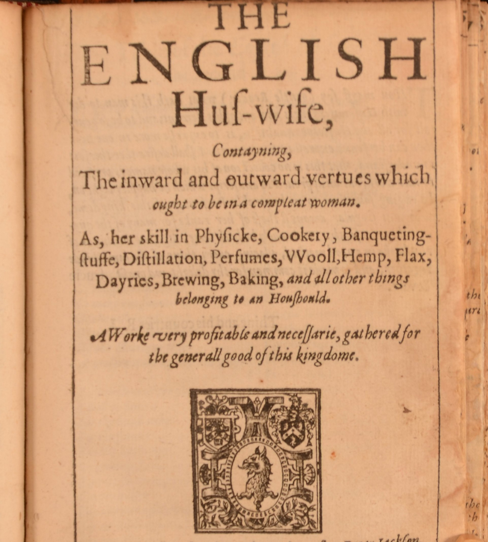 Title page of a pamphlet called The English Housewife