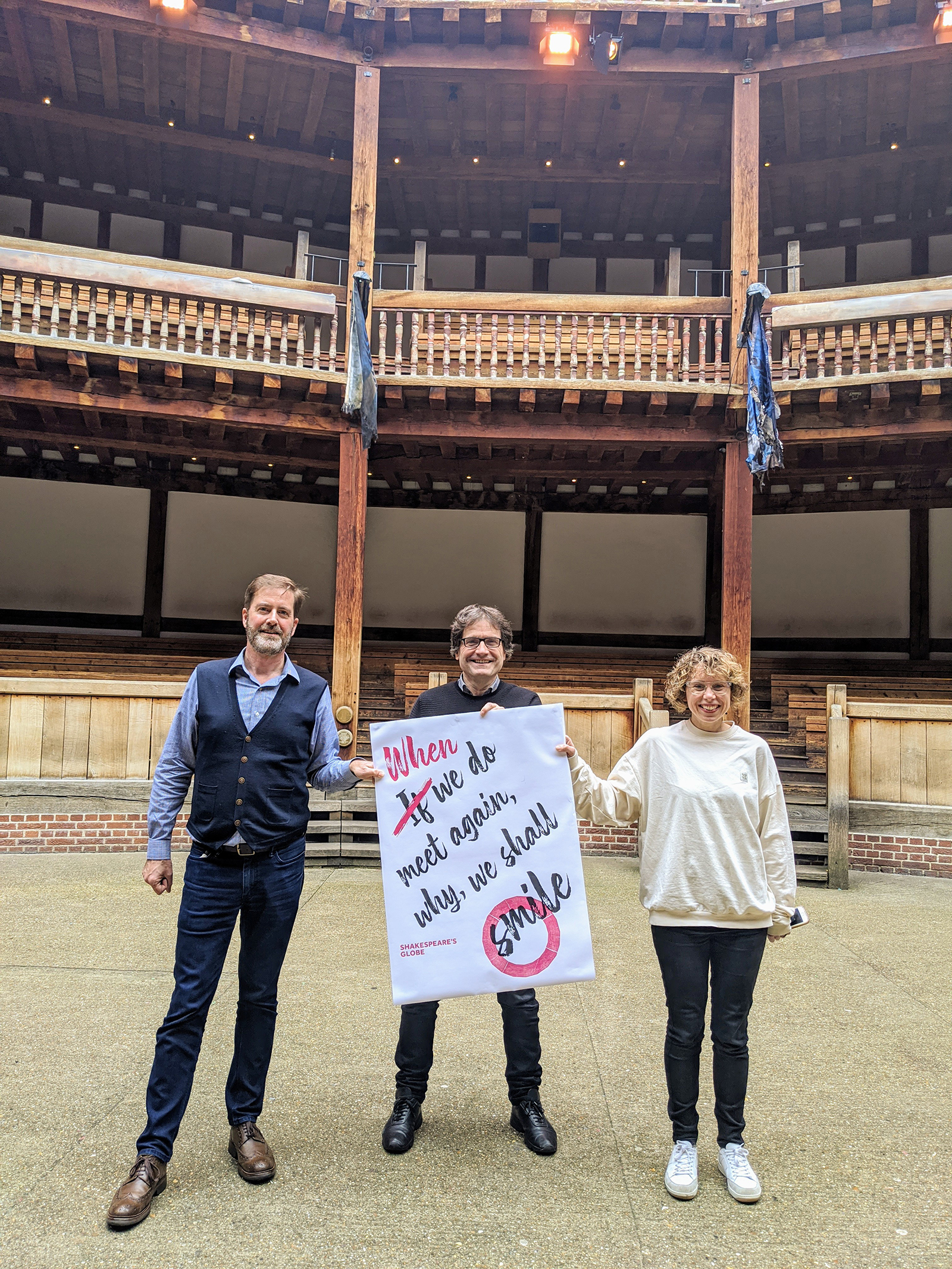 Neil Constable, Patrick Spottiswoode and Michelle Terry in the Globe Theatre