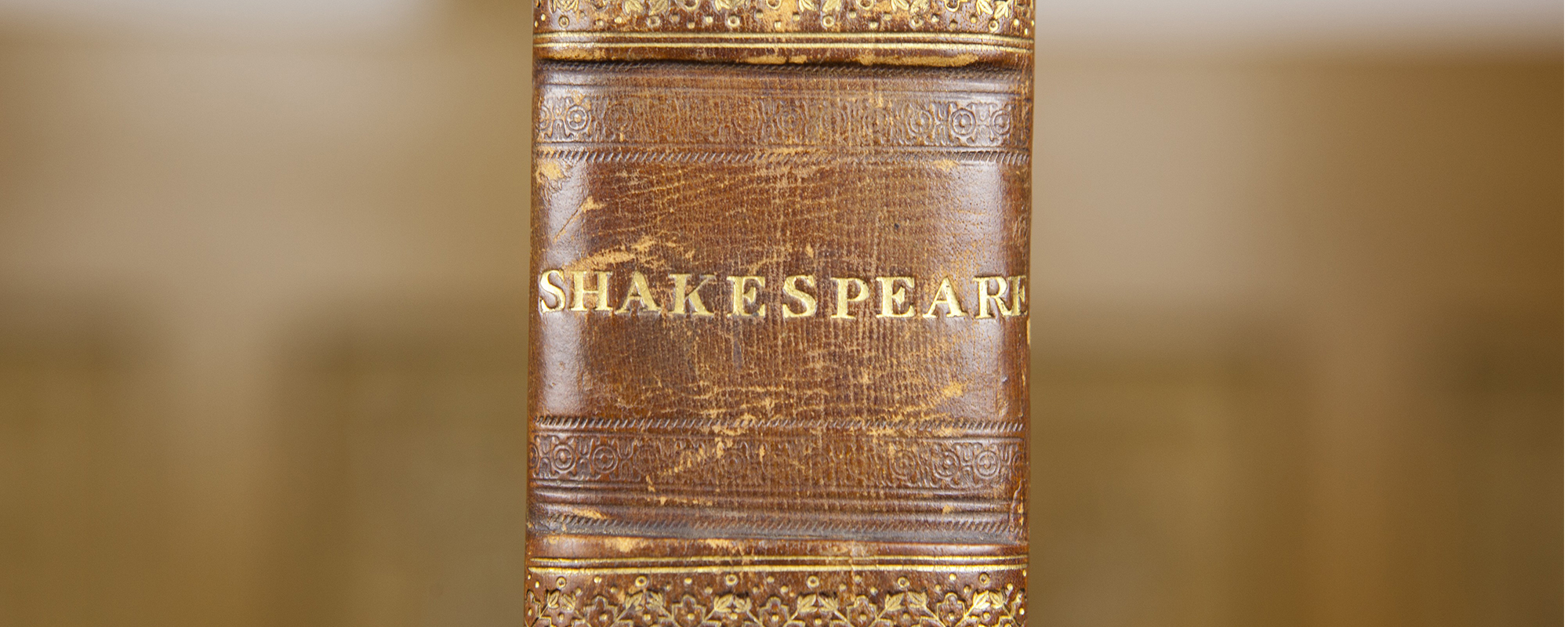 The spine of a book with the word Shakespeare written on it