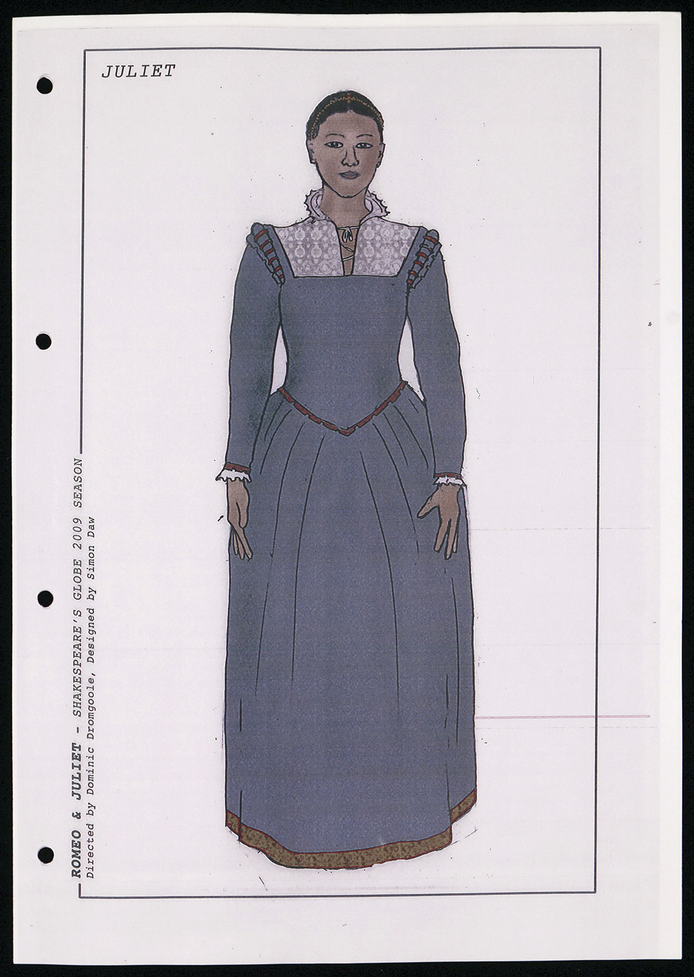 A costume sketch for Juliet with a high necked blue corset dress.