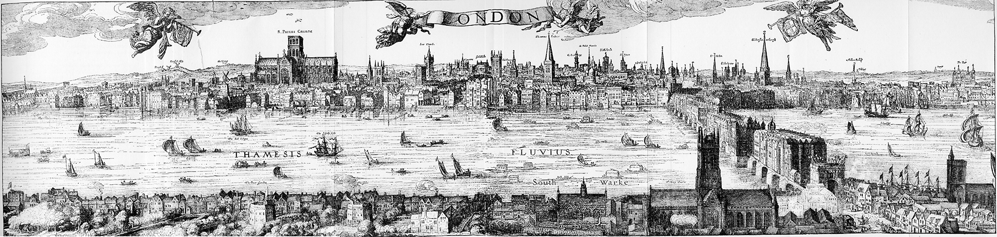 A panorama view of London with St Pauls, the City of London to the North, and the theatre and bear-baiting pits to the south of the river, from the early 1600s.