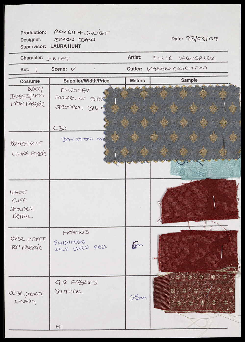A sheet a paper detailing the costume list for a scene in Romeo and Juliet with fabric swatches.