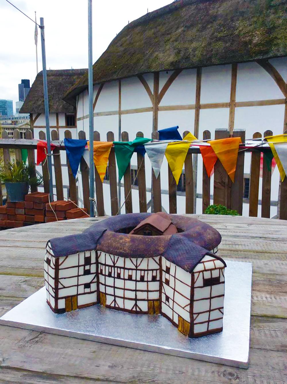 A cake of the Globe Theatre.