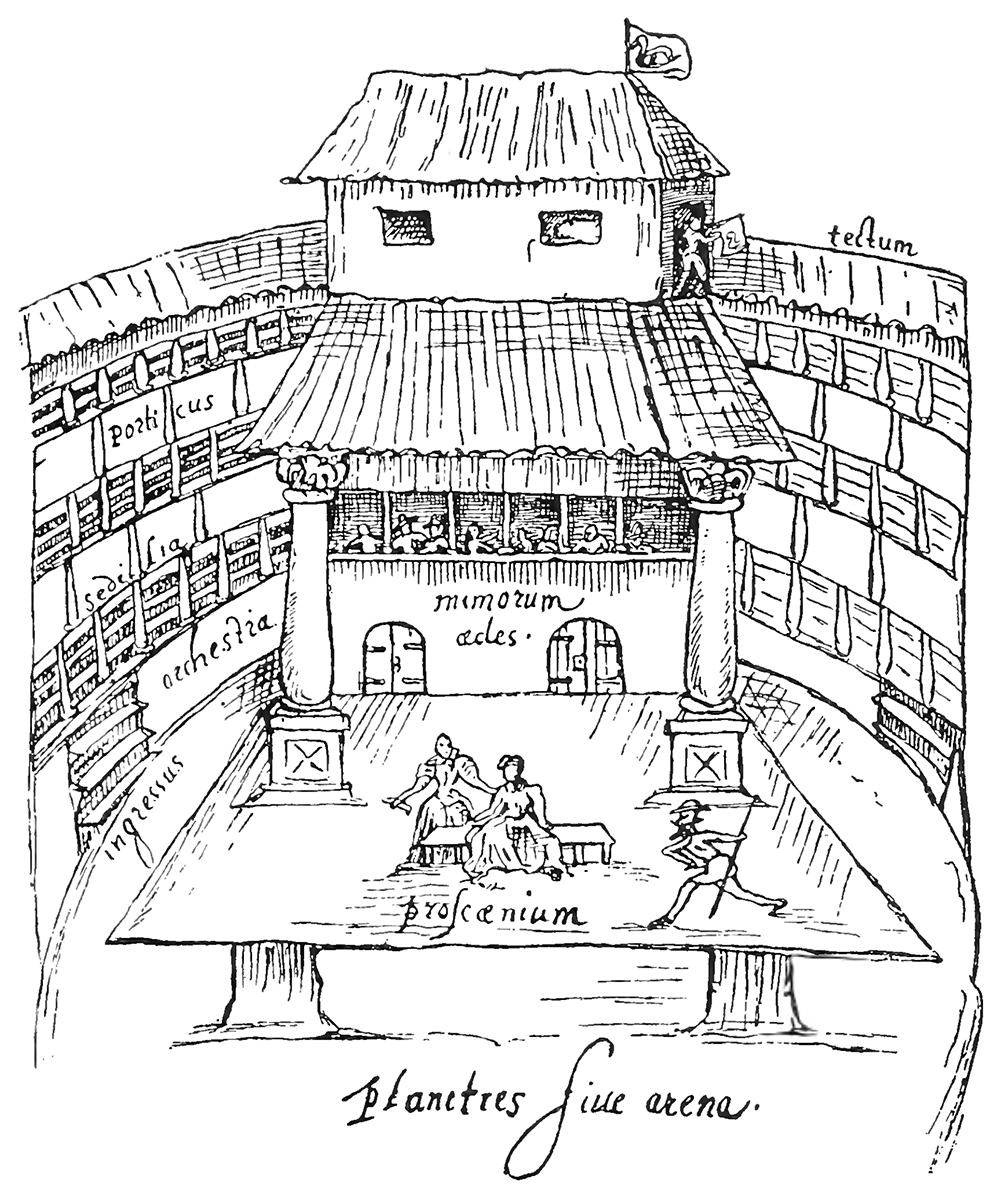 Sketch of an Elizabeth playhouse with thatched roof.