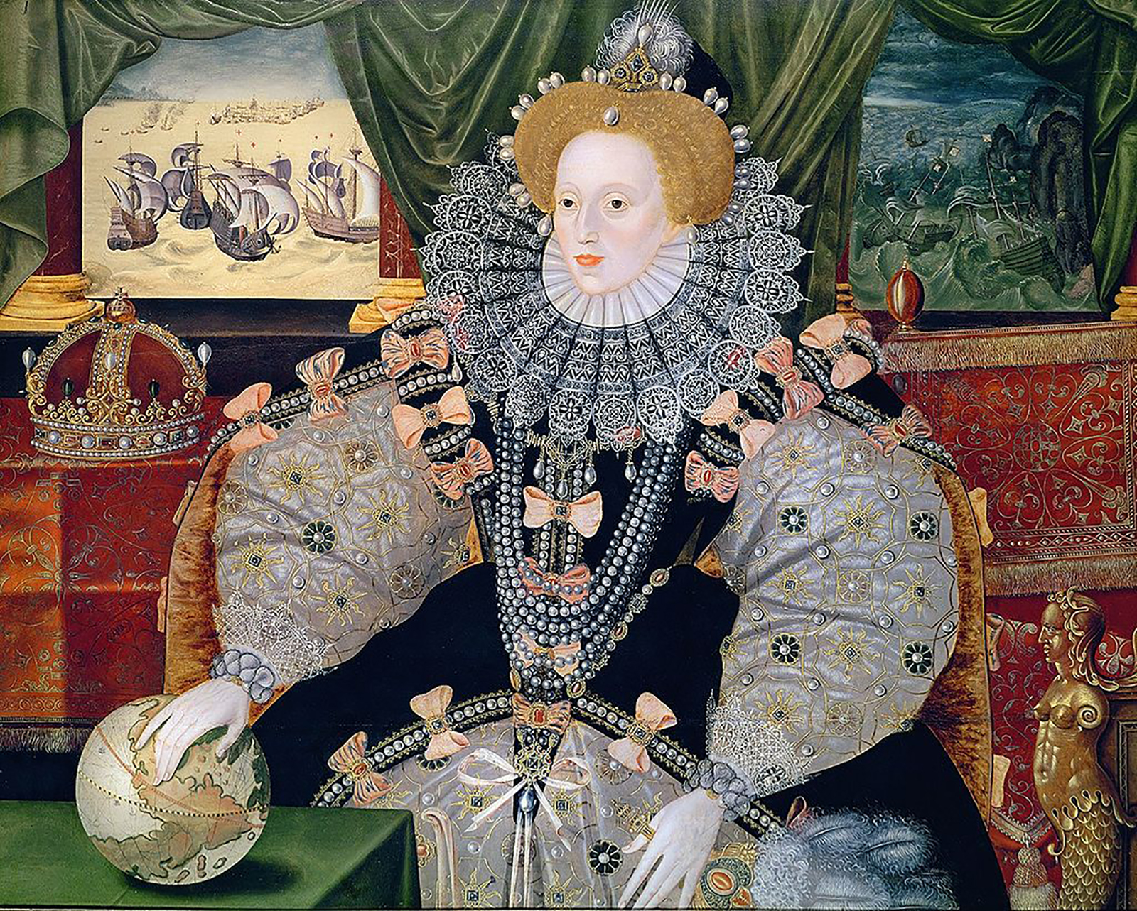Portrait of Elizabeth I, with a depiction of the Battle of the Armada behind her, her hand resting on a globe.