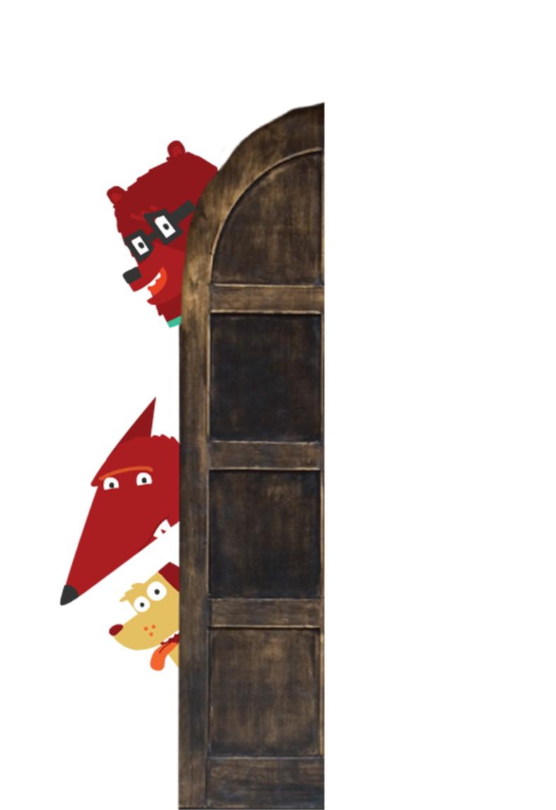 An illustration of some animals peeking behind a door