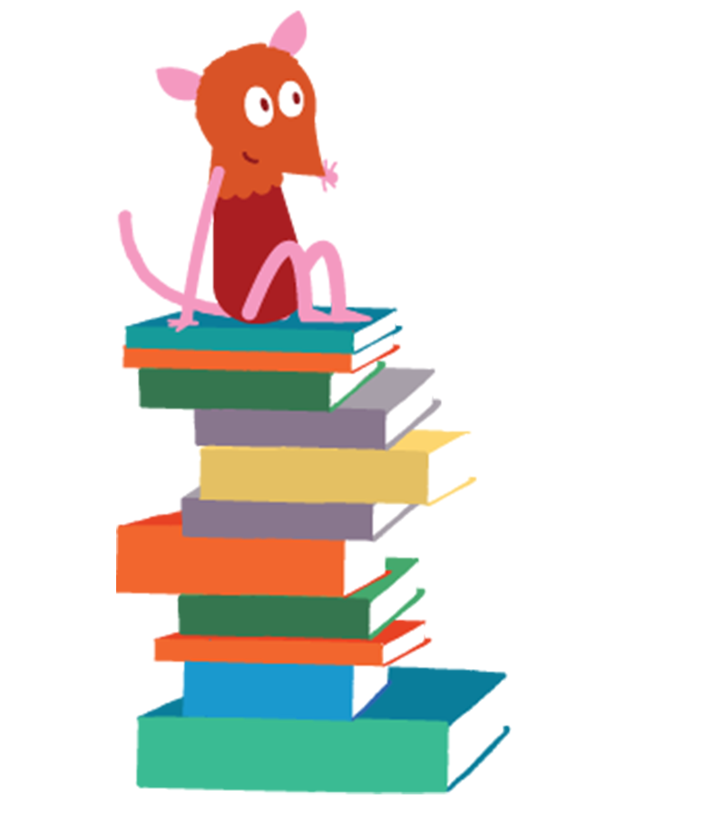 An illustration of a mouse sitting on some books