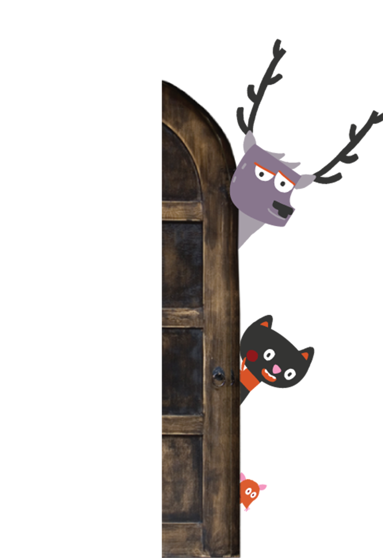 An illustration of some animals peeking behind a door