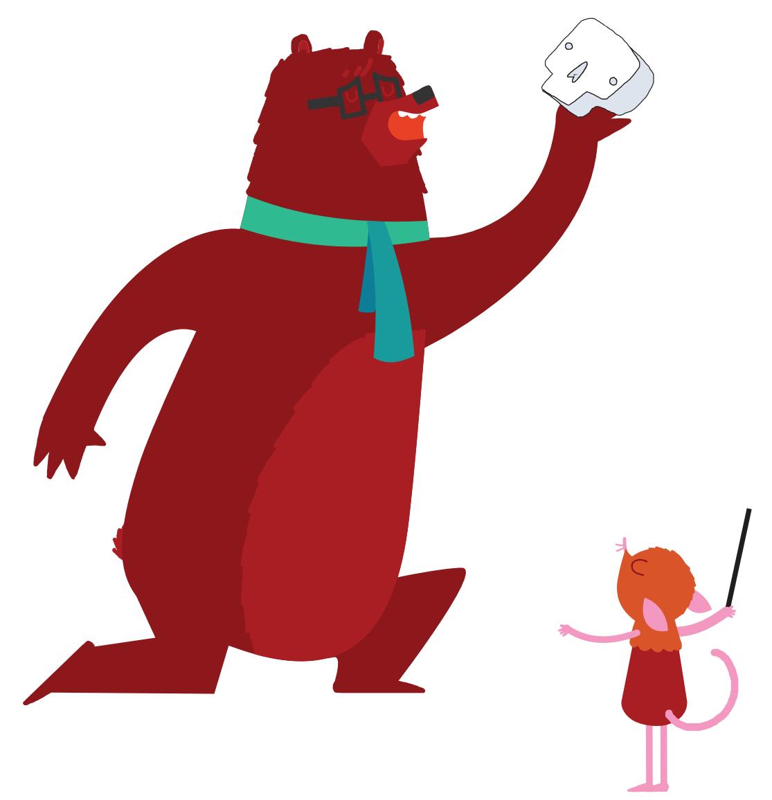 An illustration of a bear holding a skull pretending to be Hamlet