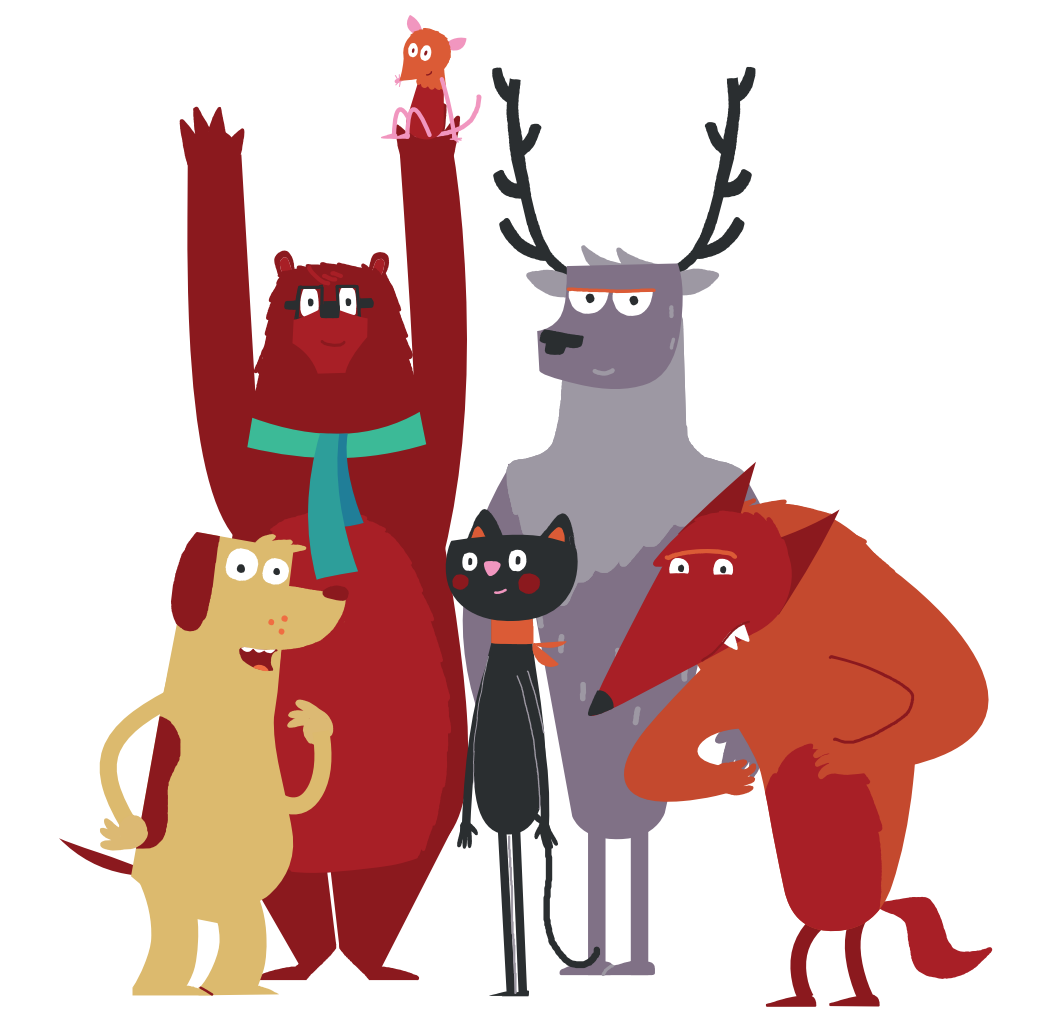 An illustration of a group of animals