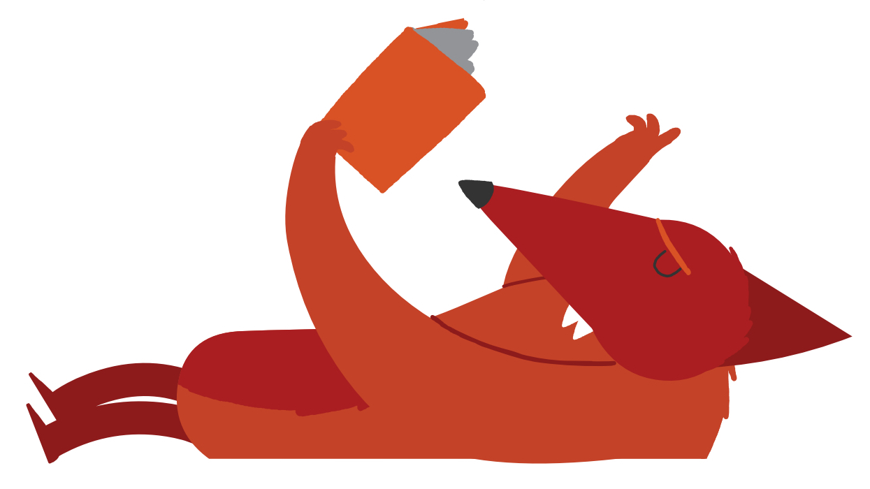 A cartoon of a fox reading a book