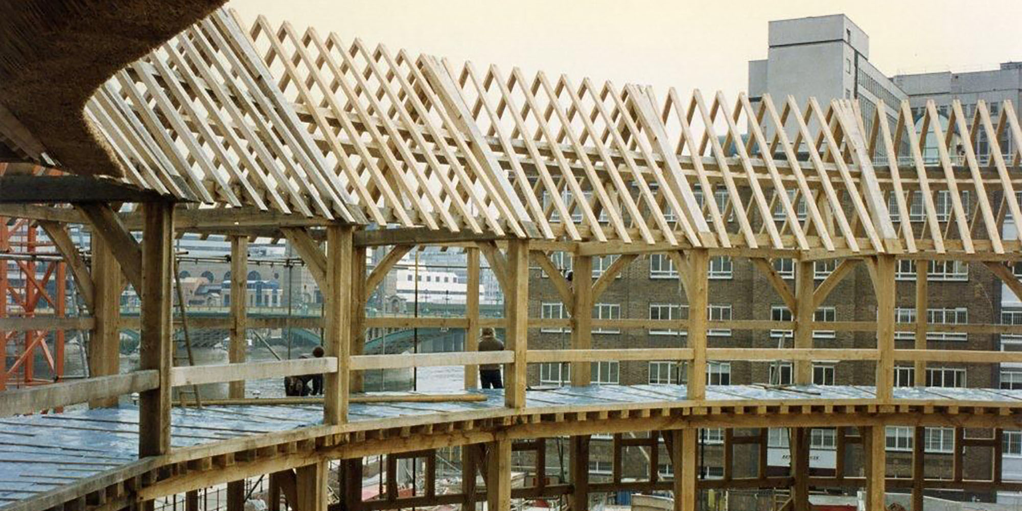 A portion of a circular timber frame.
