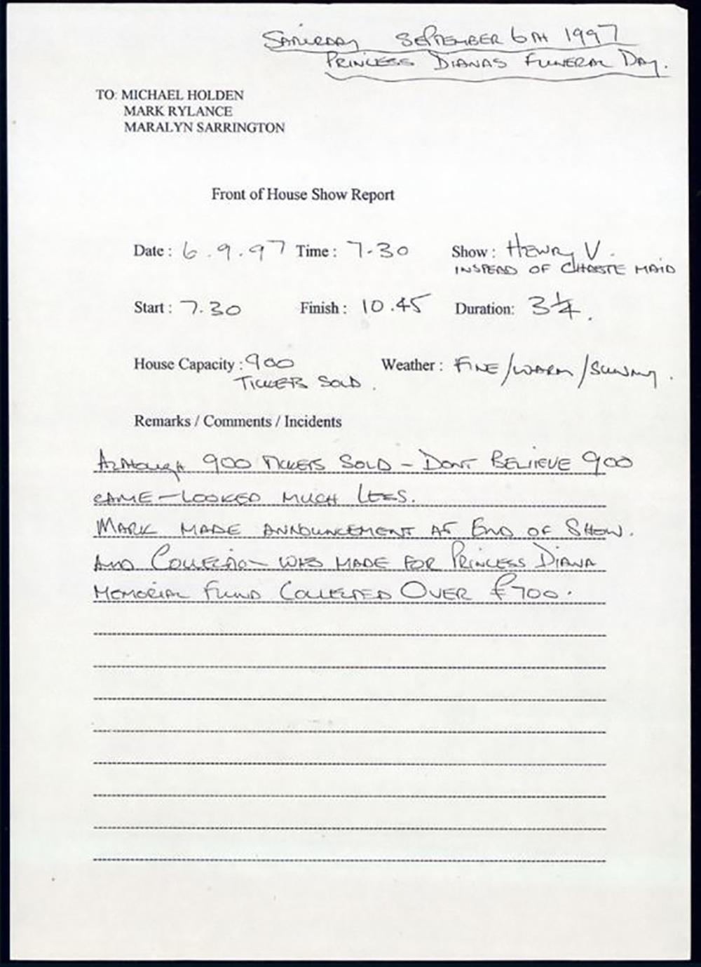 Show report for Henry V