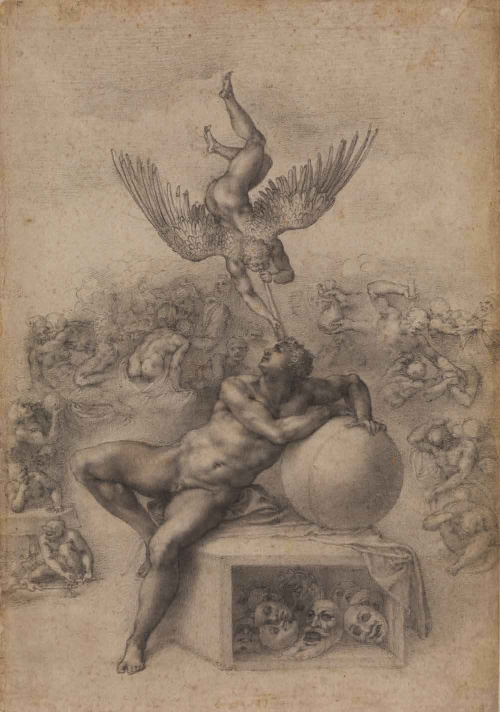 A sketch of a man guarding a sphere, with a winged beast hovering above.