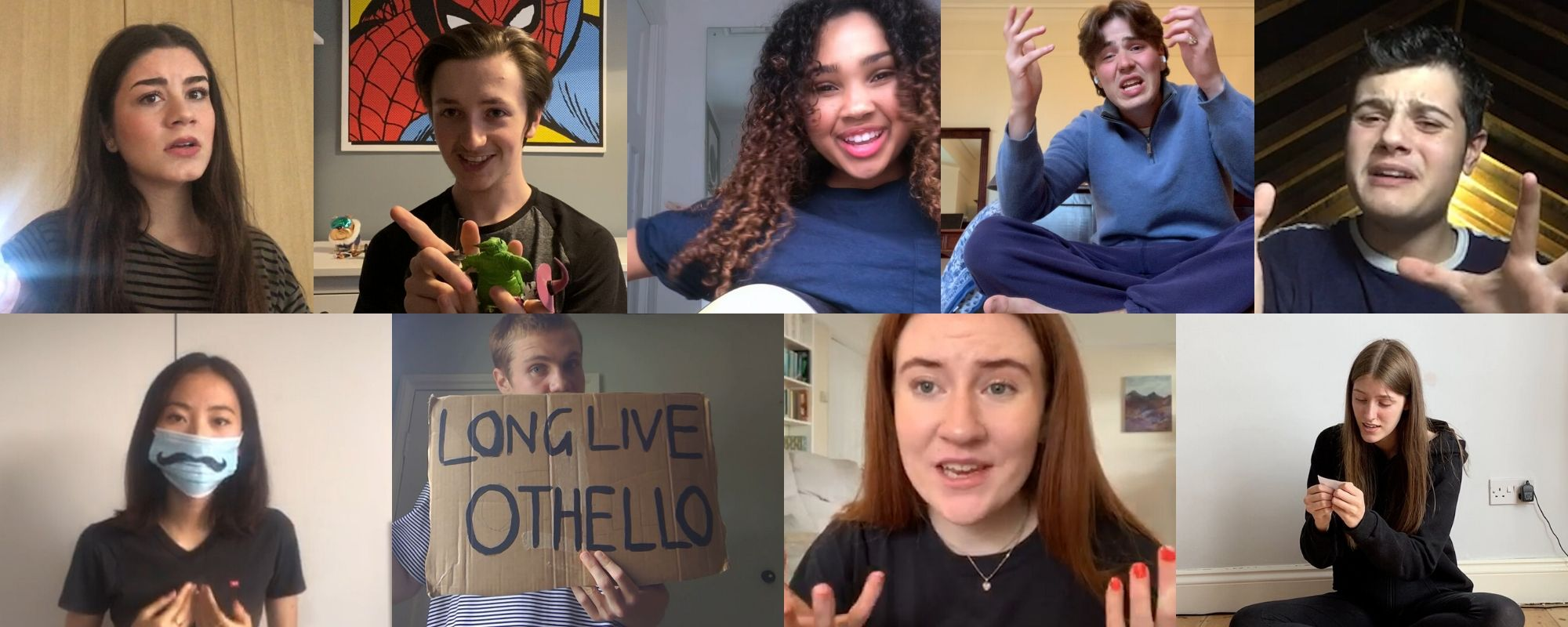 A collage of photos of students performing to a camera from home