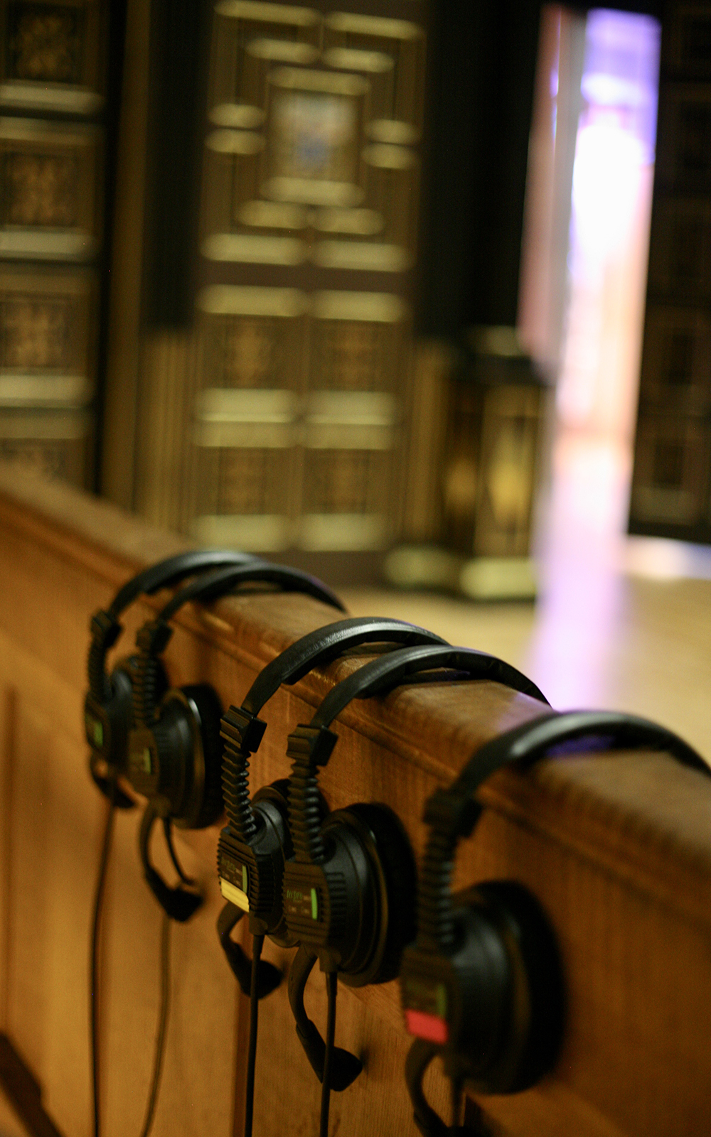 Headsets resting on the side lines of the Sam Wanamaker Stage