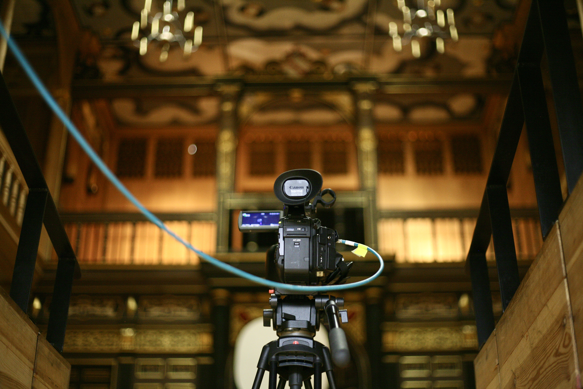 A camera is set up for a recording of the Shakespeare & Race Festival in 2020 in the Sam Wanamaker Playhouse