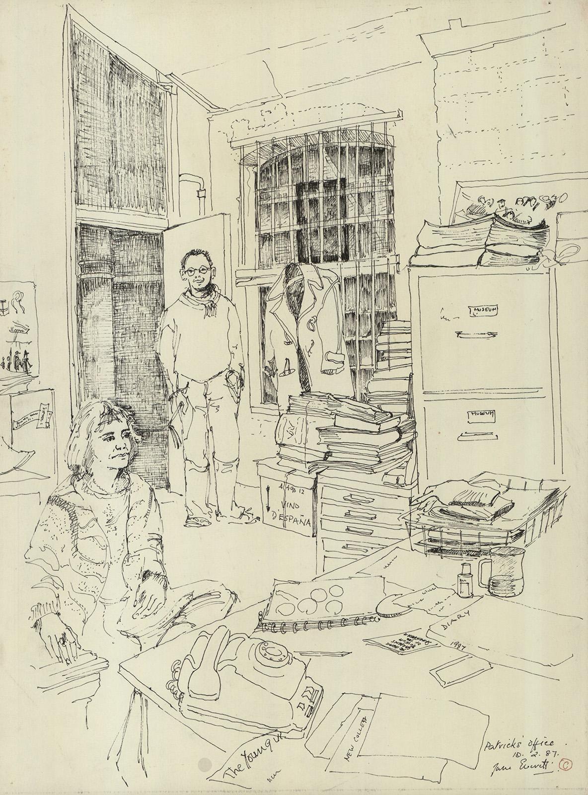 A sketch of an office.