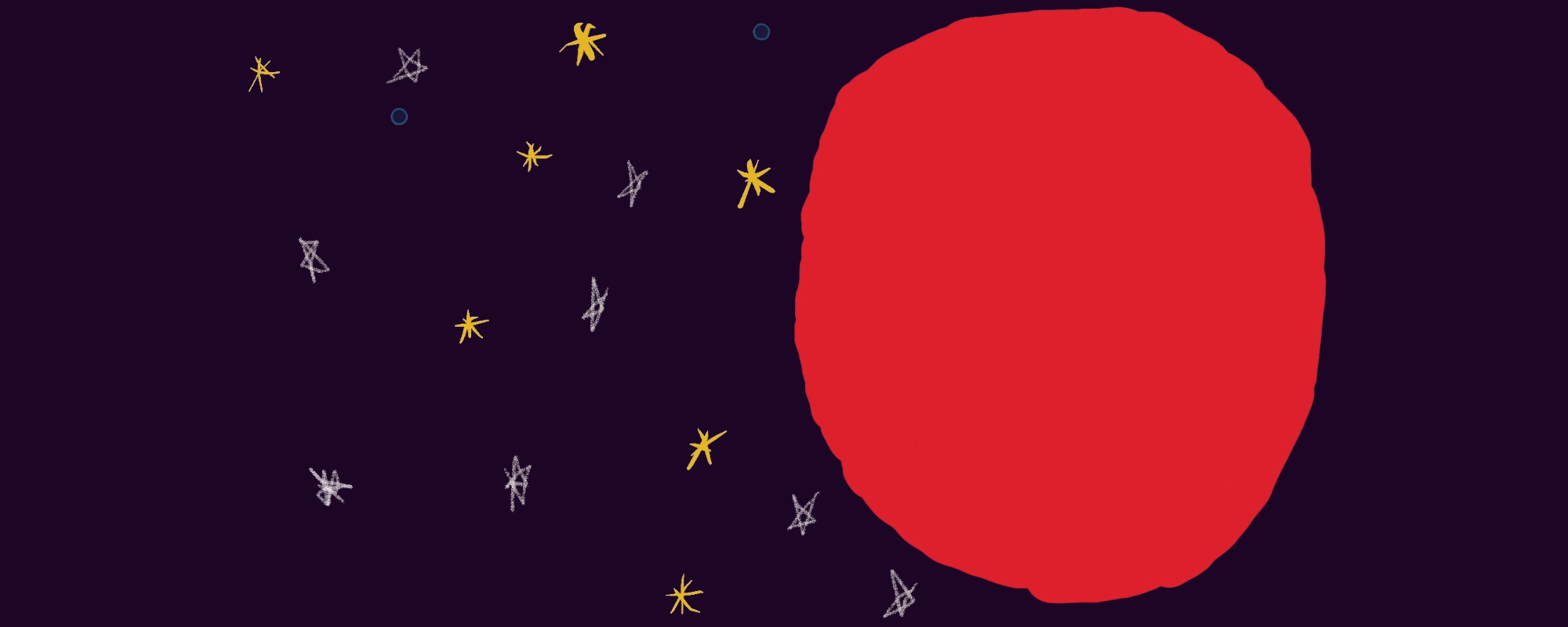 A black background with a red circle and stars