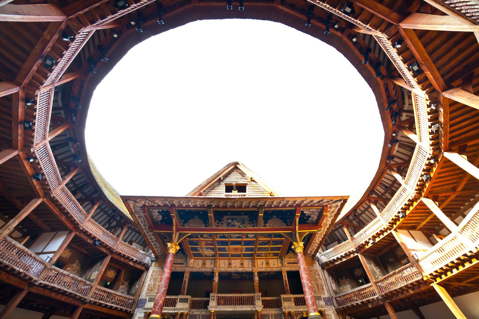 The open air Globe Theatre with its large, round ceiling opening