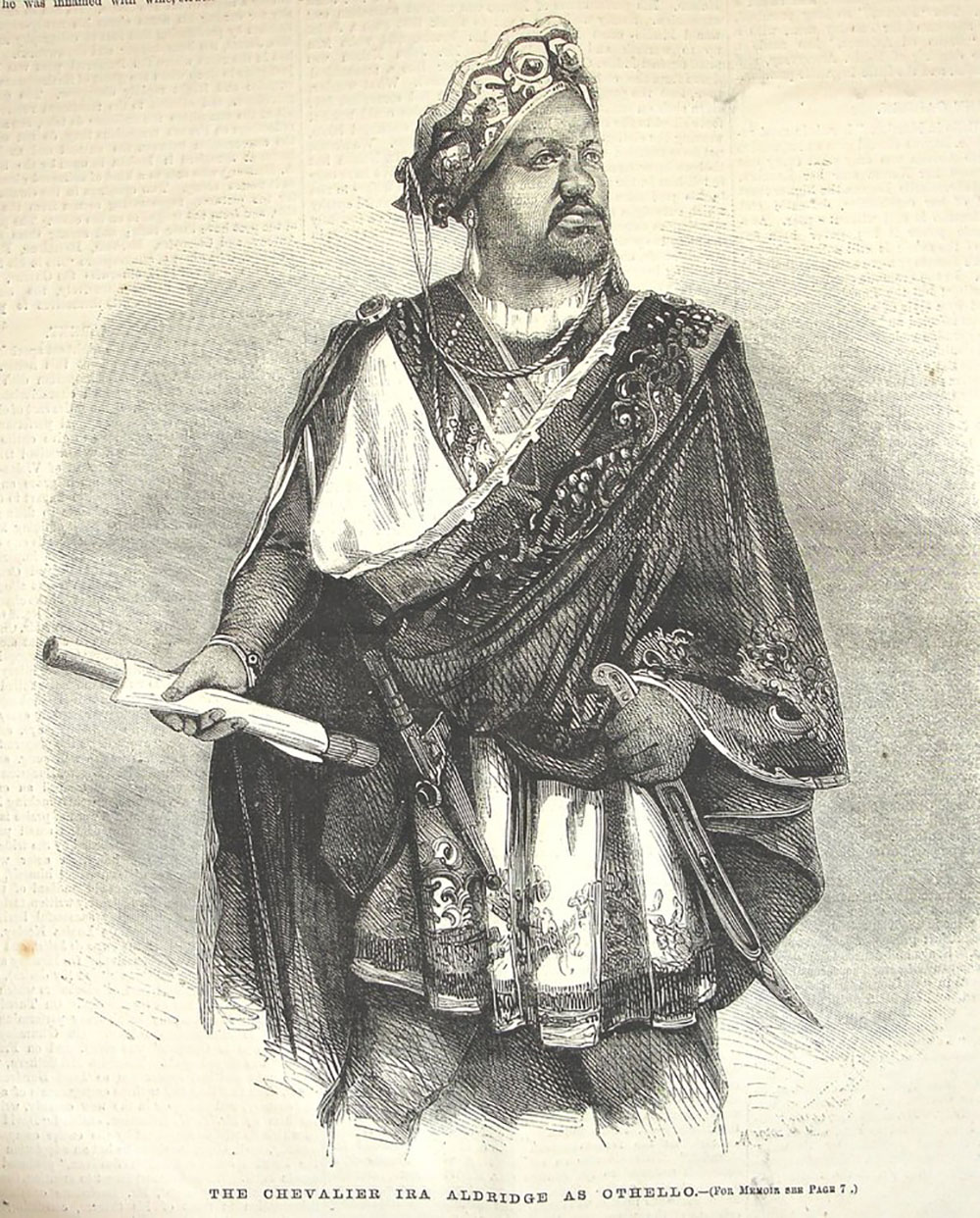 An illustration of an actor dressed as Othello