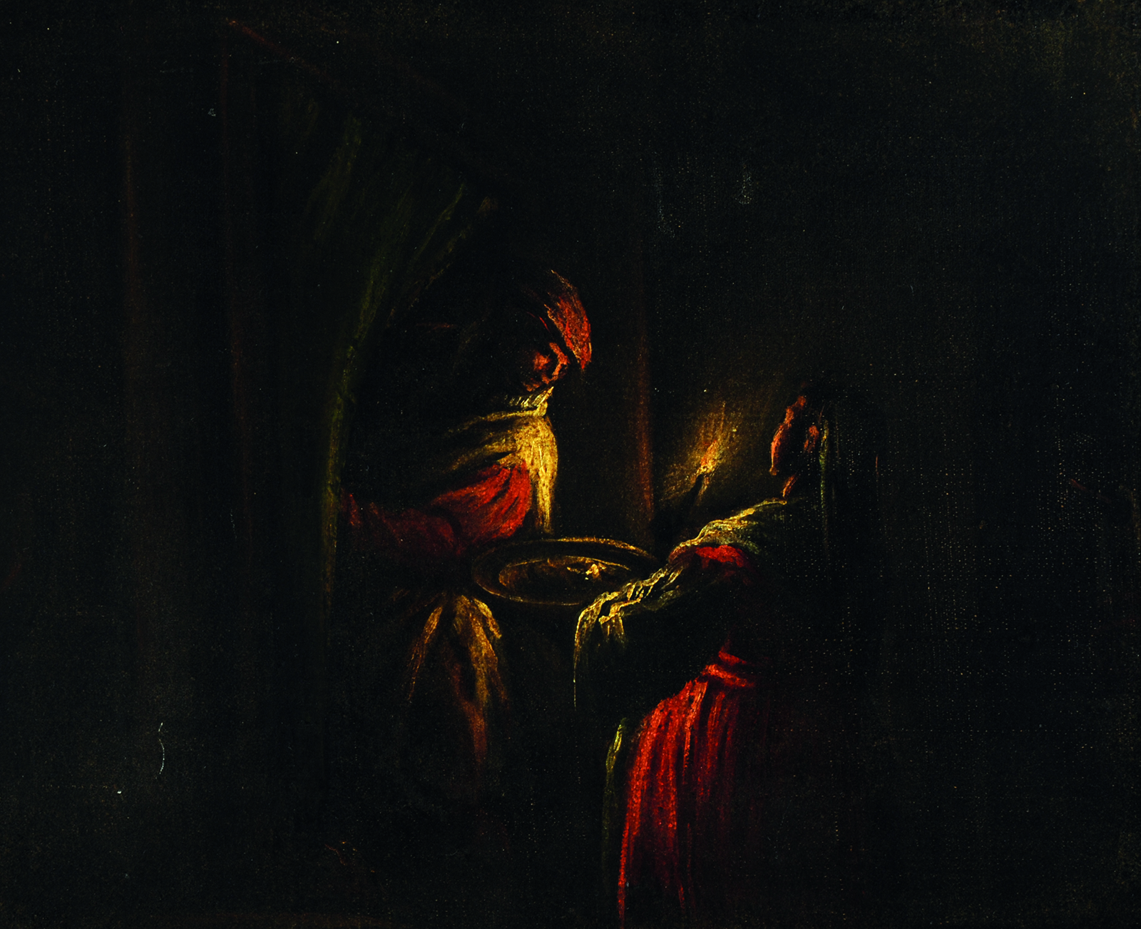 A painting of two figures in a candlelit interior.
