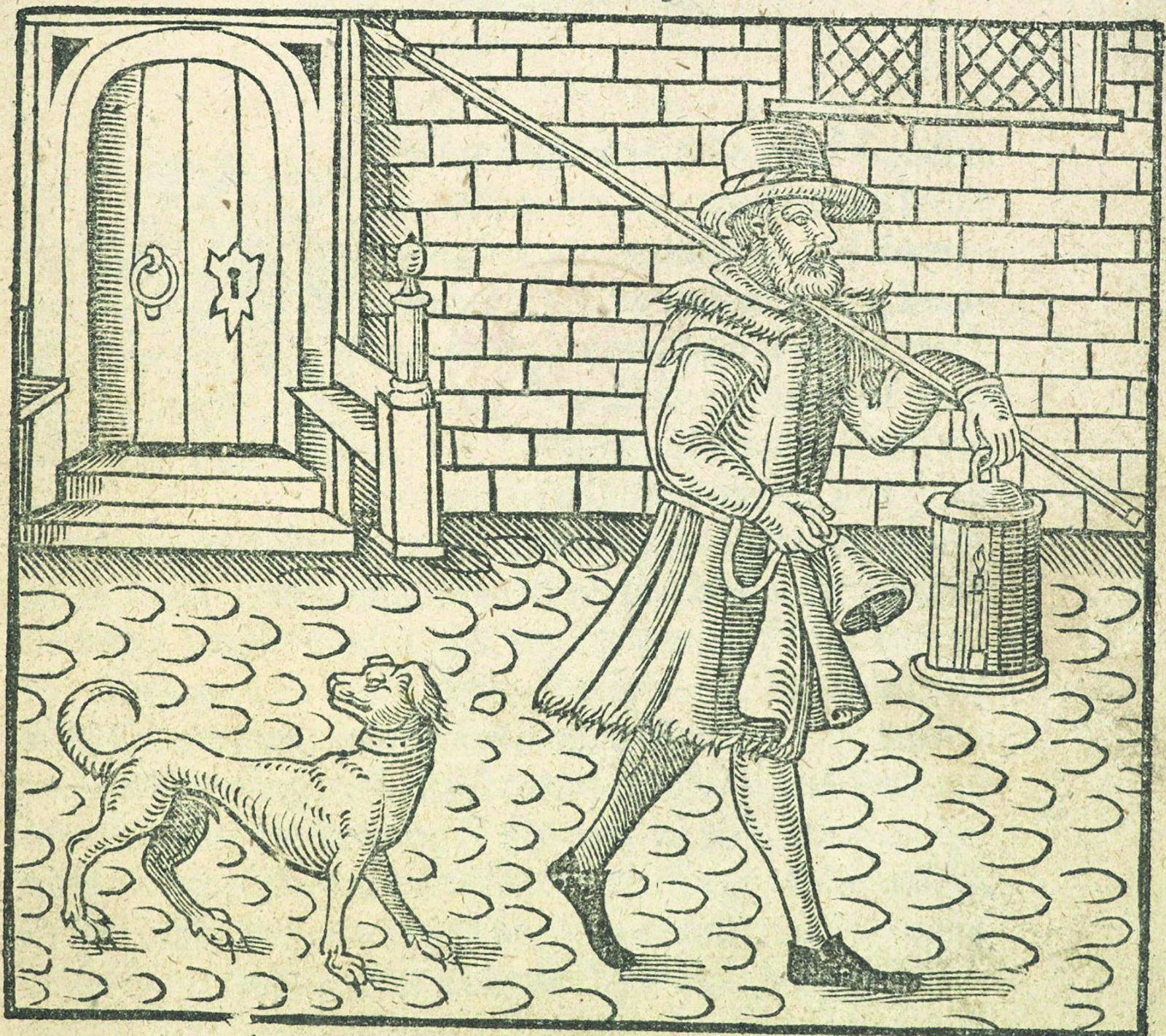 Frontispiece to a pamphlet depicting a man holding a lantern and bell, followed by a dog, on some cobbled streets.