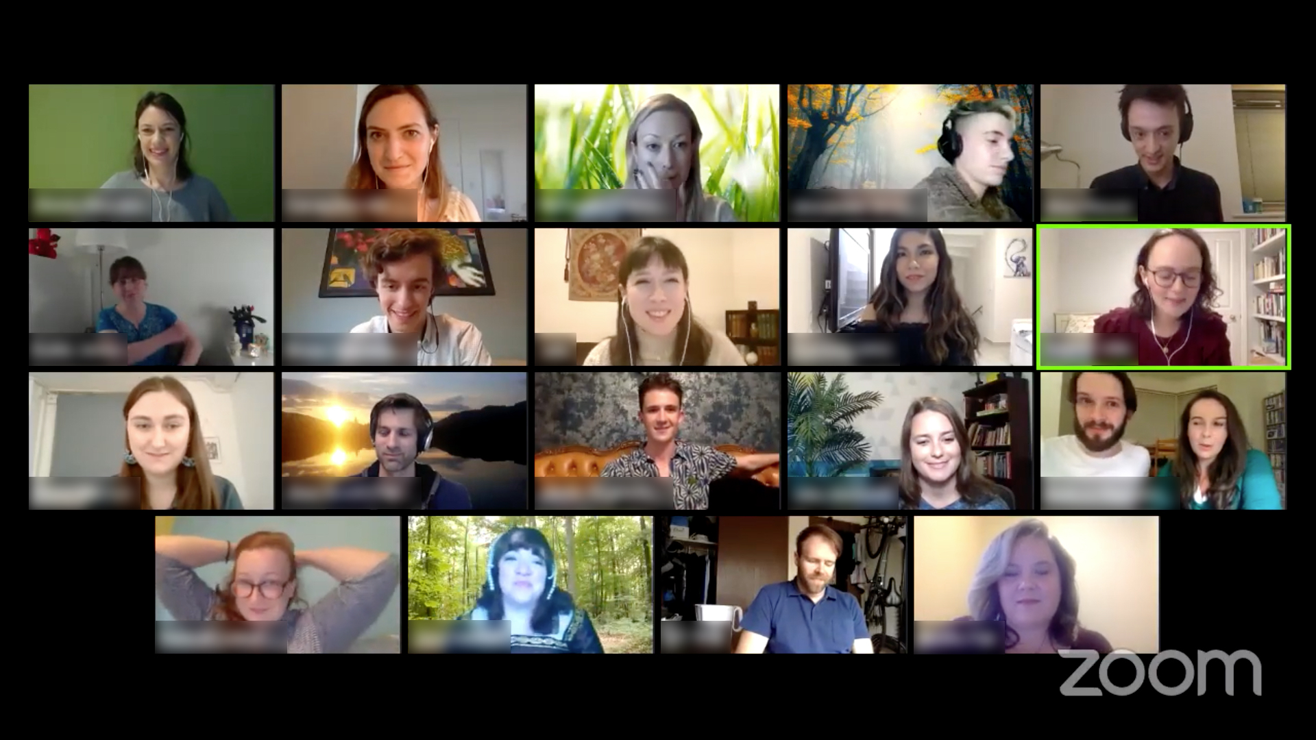 A screen is divided into small squares showing a variety of actors on a video call