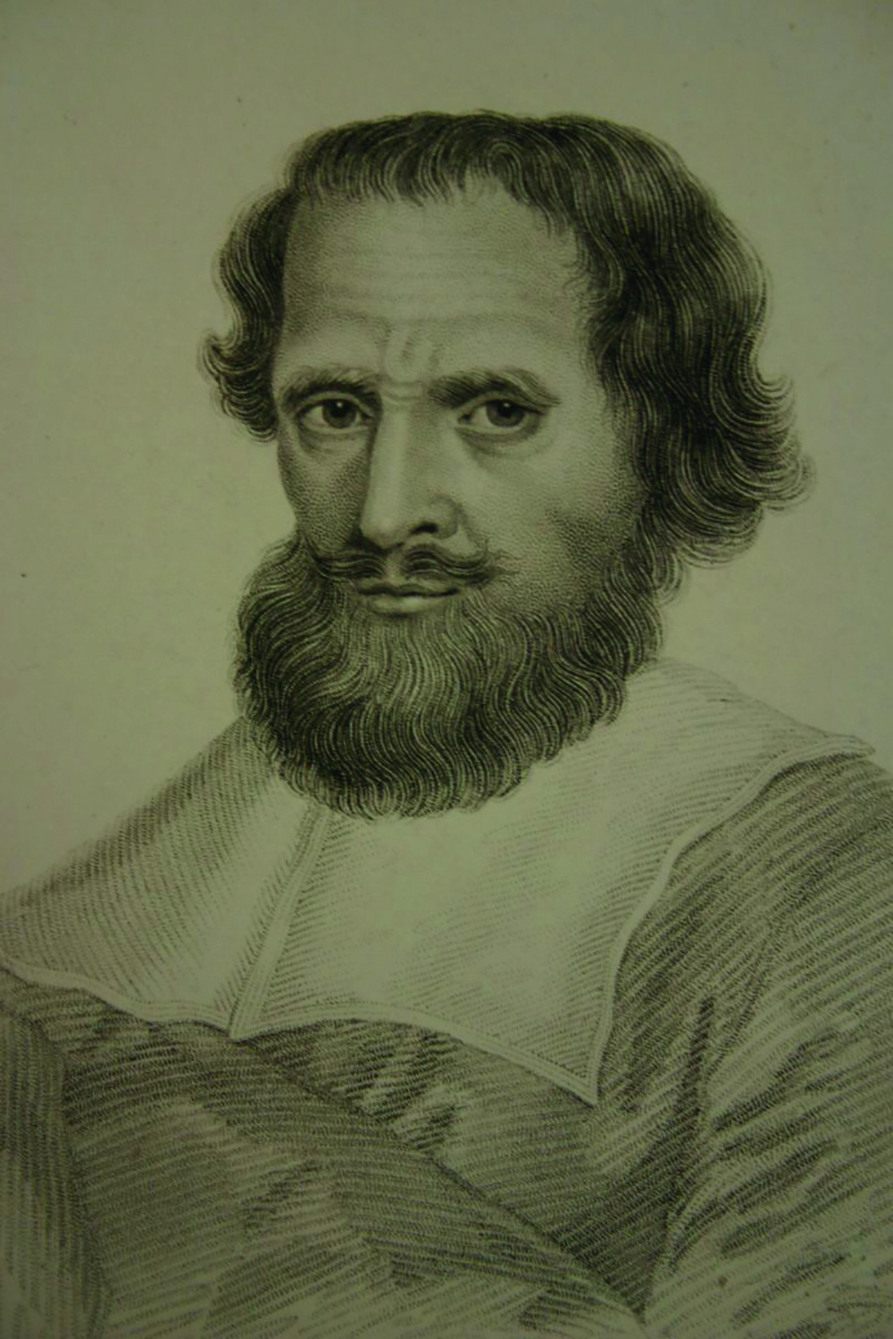 Drawing of a man with thick hair and bushy beard, wearing traditional male Elizabethan dress.