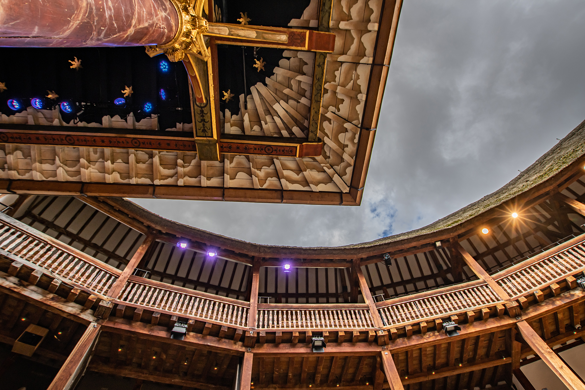 A shot of the sky taken from the Globe stage, with the upper circle visible
