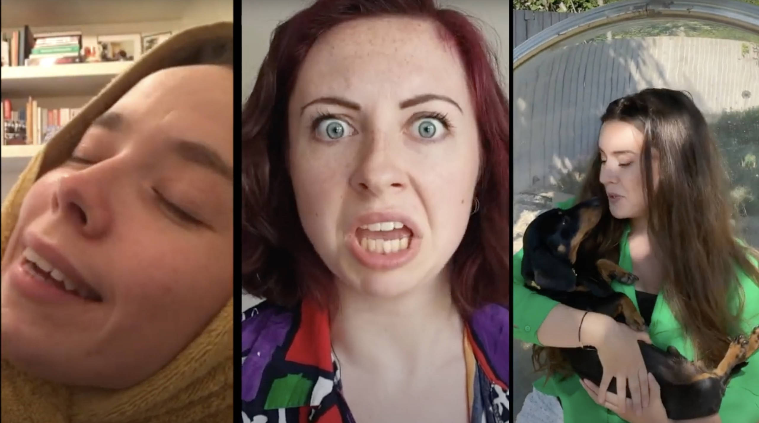 A split screen shows three actresses, one sleepy, one angry and one cudding a pet