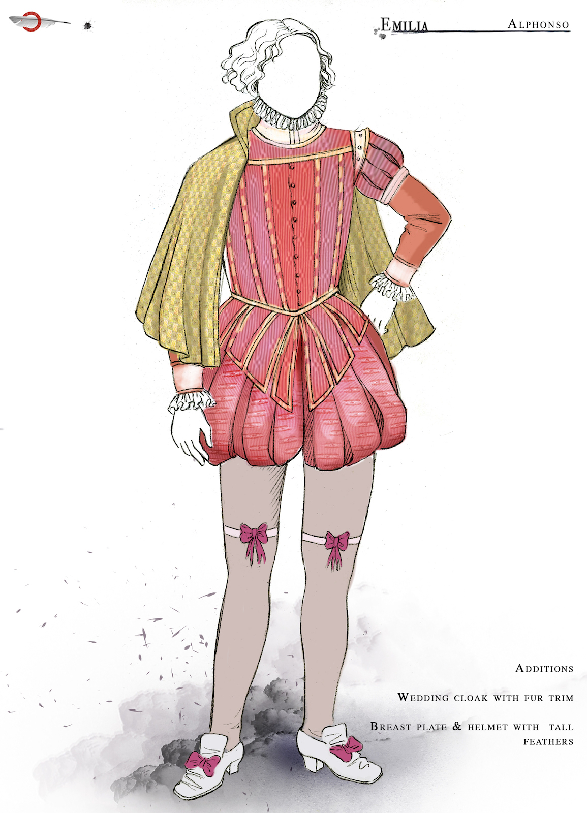 A costume sketch of male Elizabethan clothing complete short breeches and a ruff