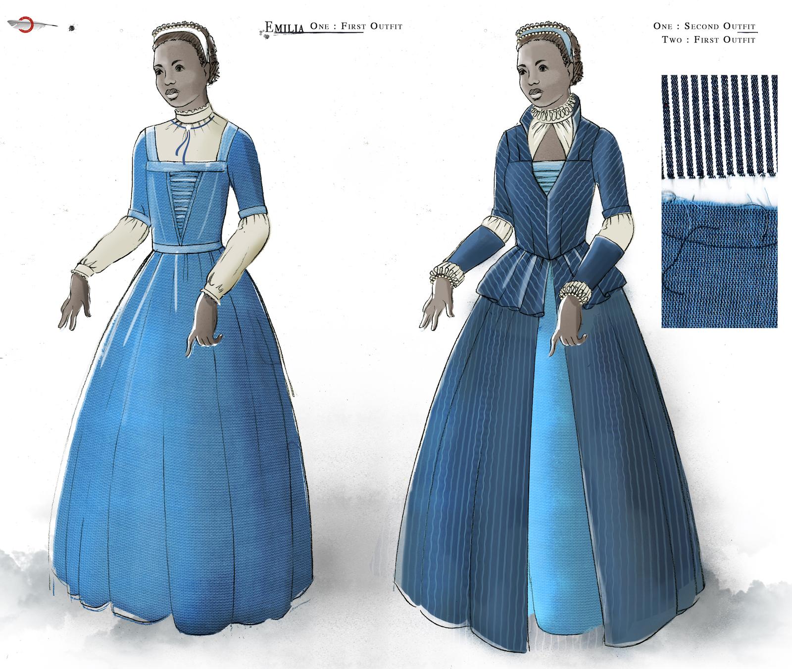 A costume sketch of two blue Elizabethan dresses