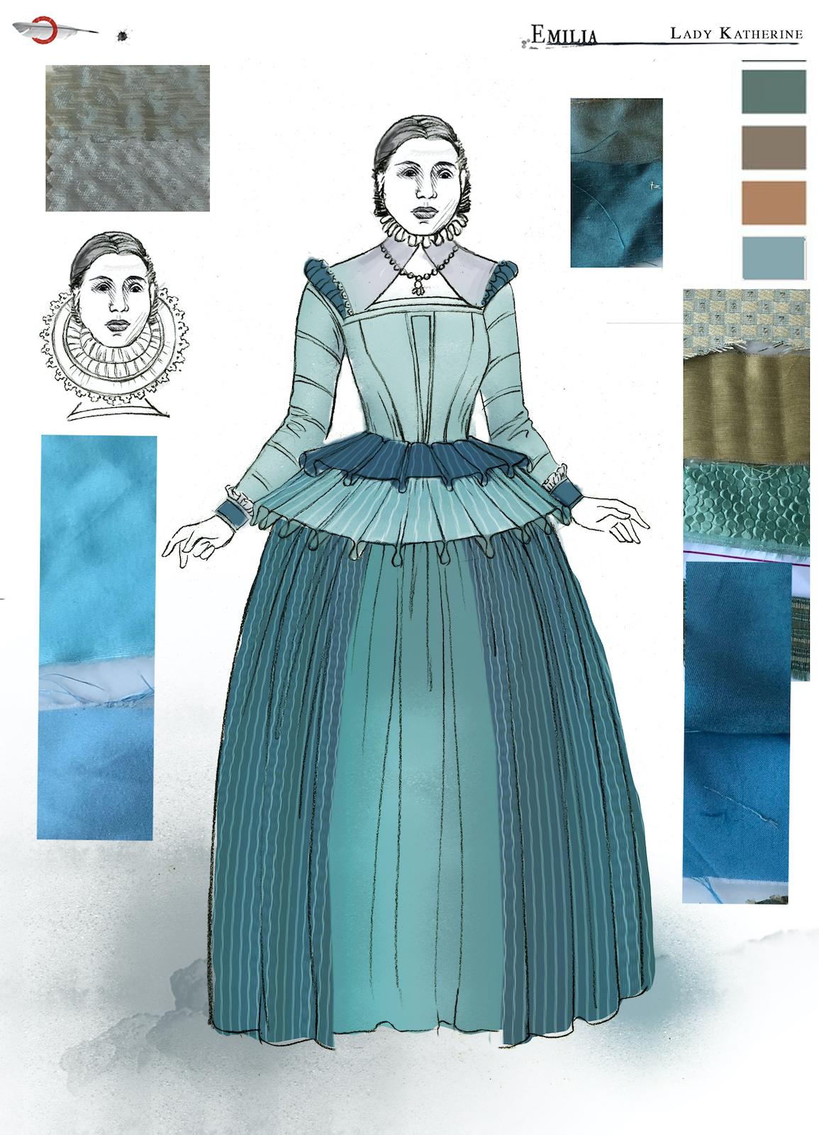 A costume sketch of a green Elizabethan dress