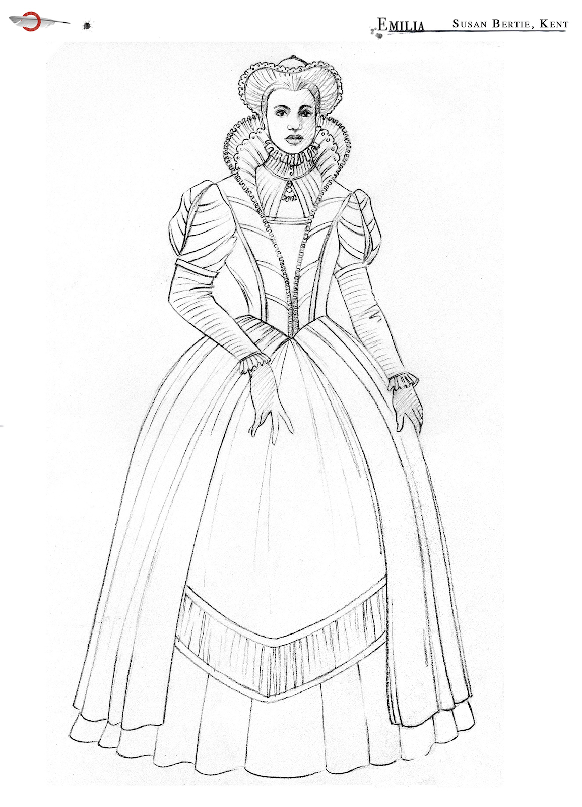 An outline illustration of a women's Elizabethan dress with ruff and elegant headwear