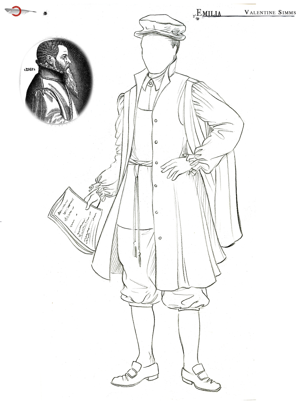 A costume sketch of a male outfit with short breeches, shoes, hat and a coat