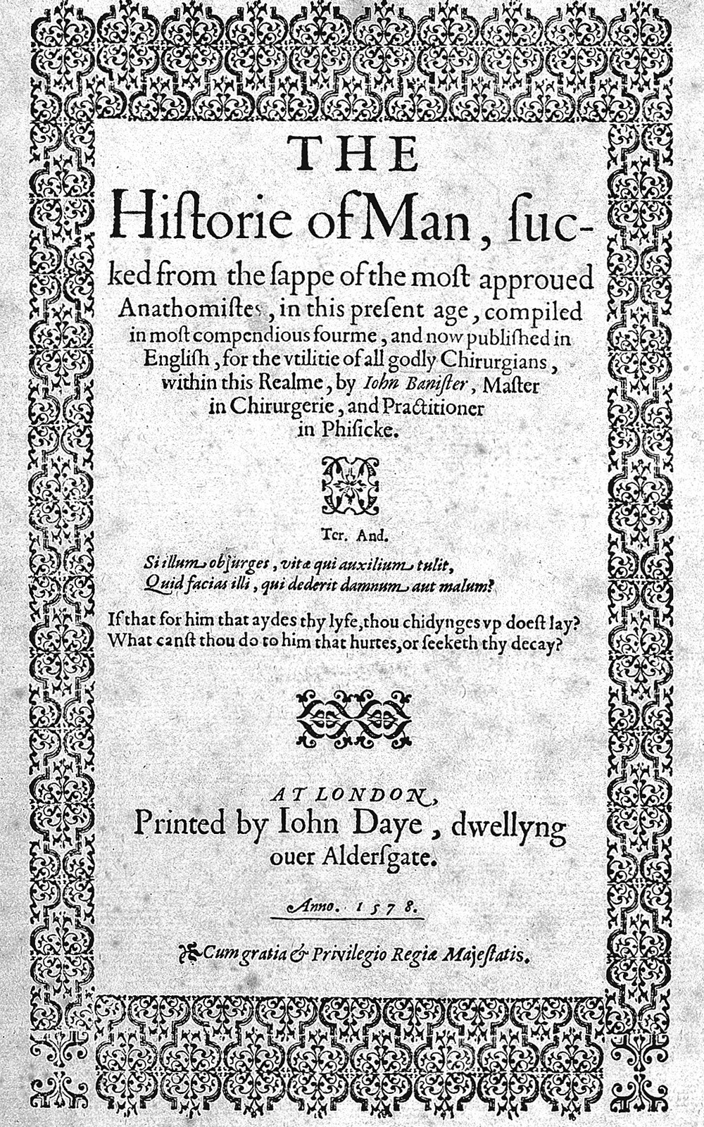 The title page from John Banister's The History of Man