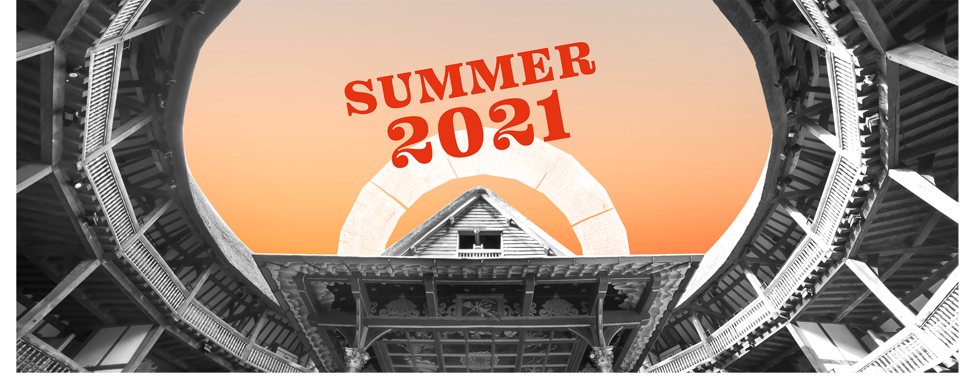 A orange dawn sky above the interior of the Globe Theatre with the words summer 2021