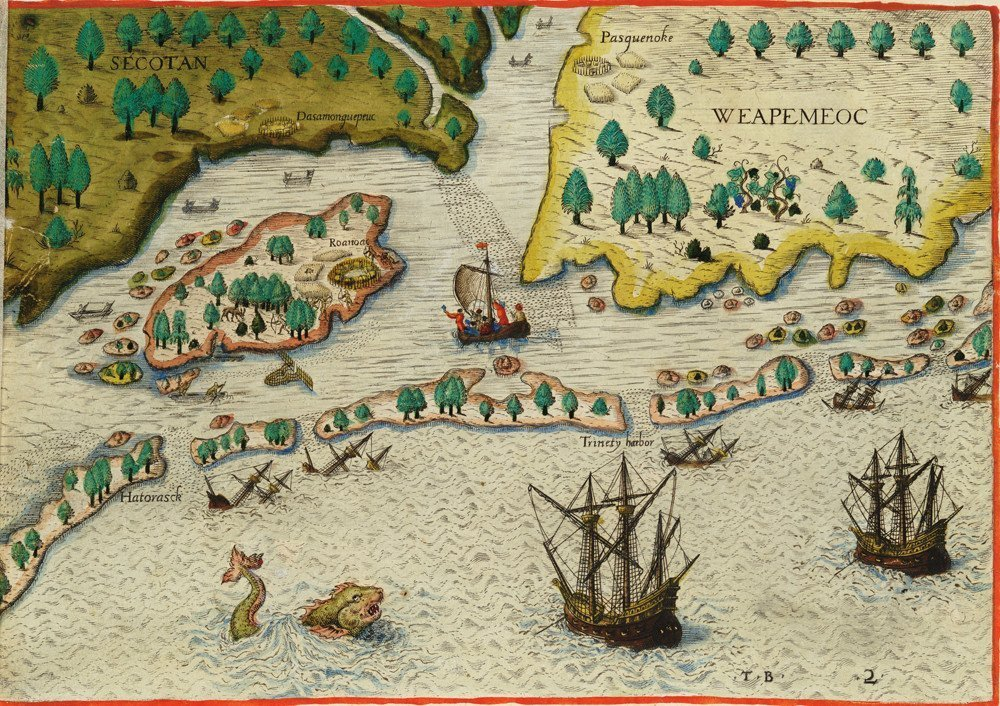 A map illustration showing ships arriving in the land to be known as 'Virginia'