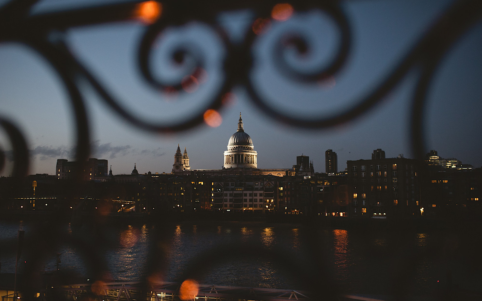 The view of St Paul's Cathedral over the River Thames at night