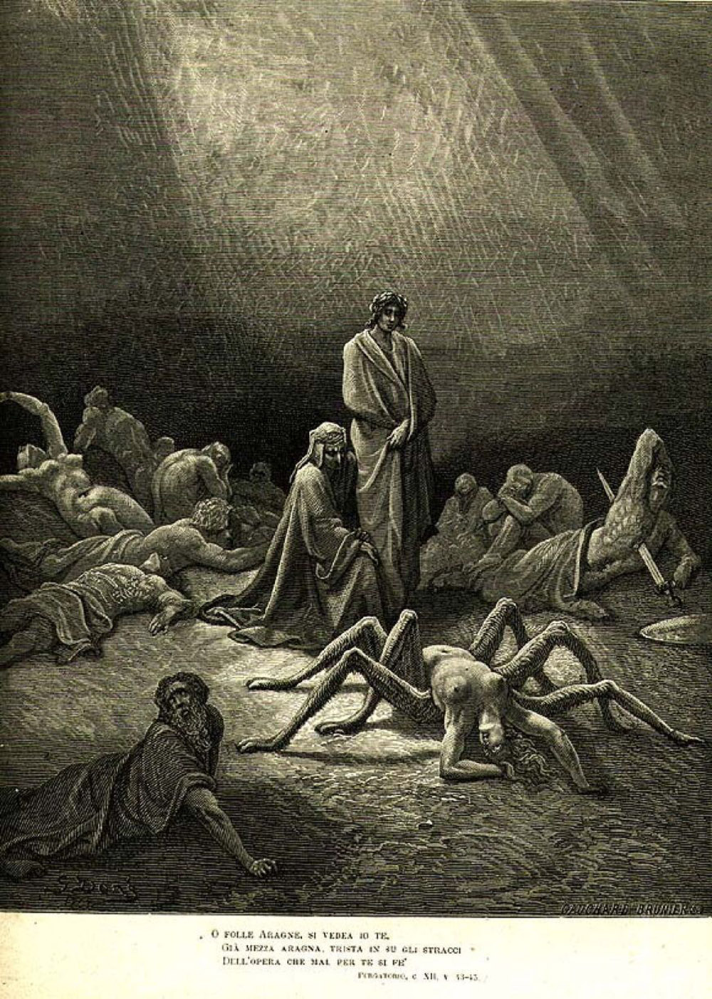 A depiction of the punishment of Arachne, showing a woman turning into a spider.