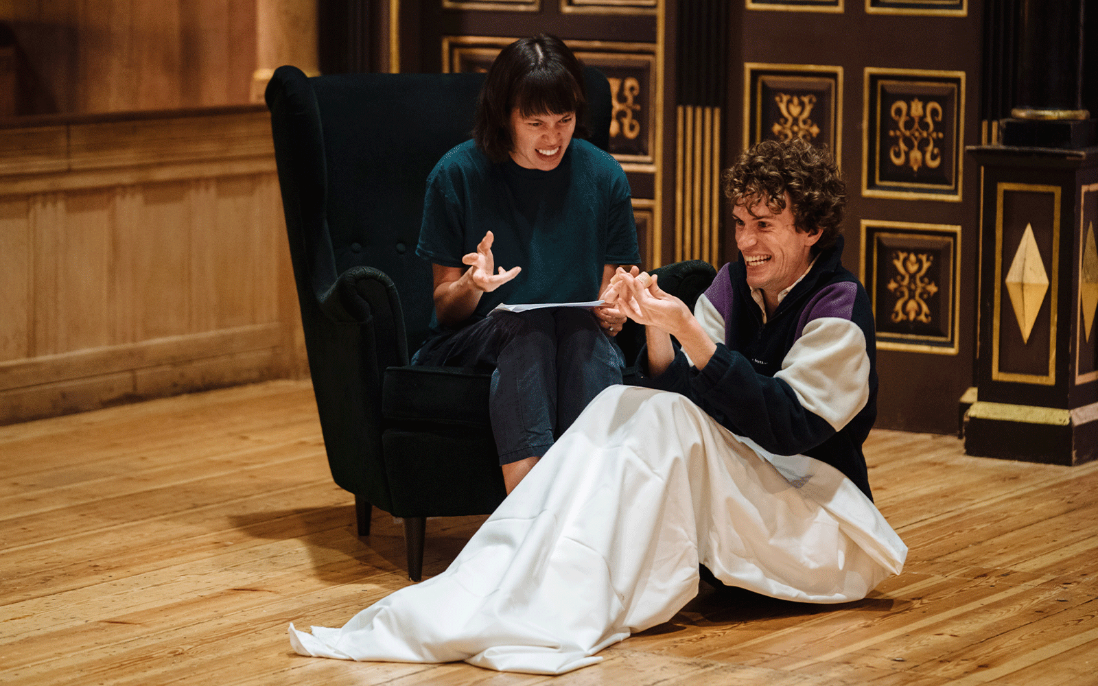 Two actors rehearsing.